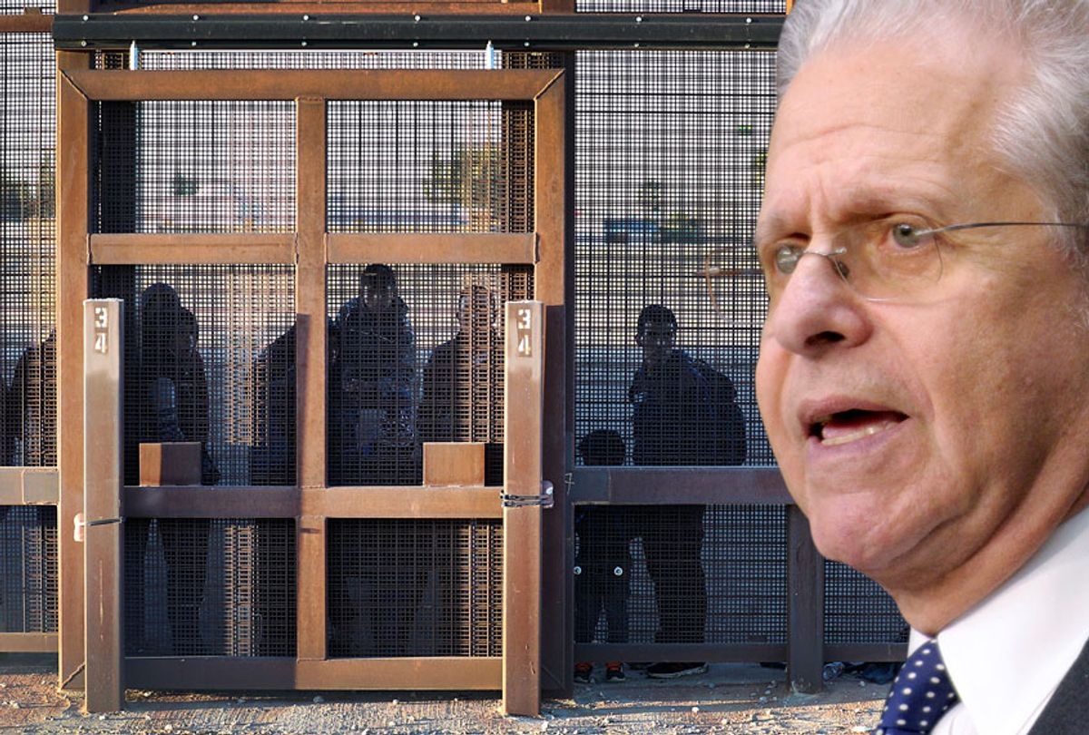 Laurence Tribe; Migrants stand together along the U.S./Mexican border wall in El Paso, Texas. (AP/Getty/Salon)