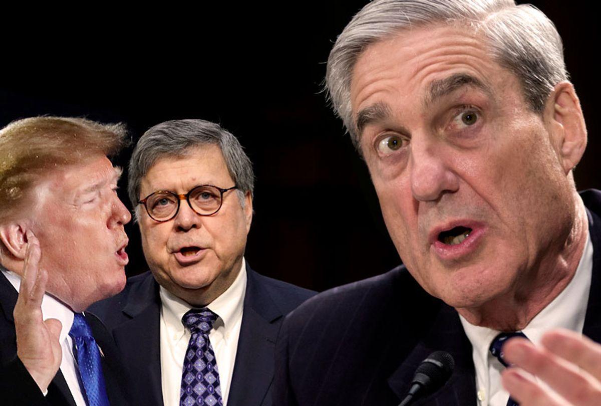 Donald Trump; William Barr; Robert Mueller (AP/Getty)