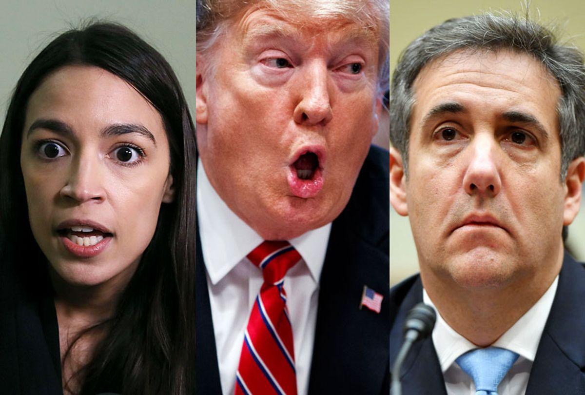 Alexandria Ocasio-Cortez; Donald Trump; Michael Cohen (AP/Getty)