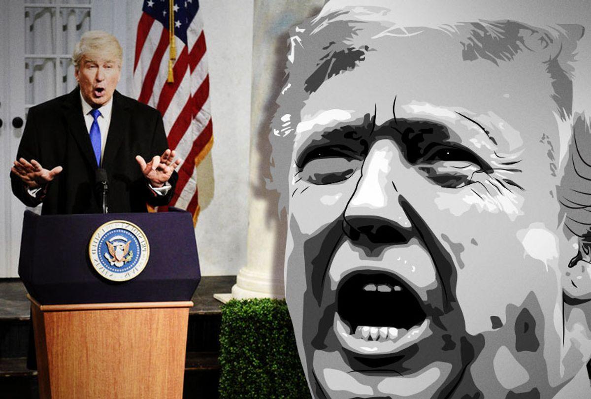 "Alec Baldwin as Donald Trump on ""Saturday Night Live"" (NBC/AP/Illustration by Salon)"