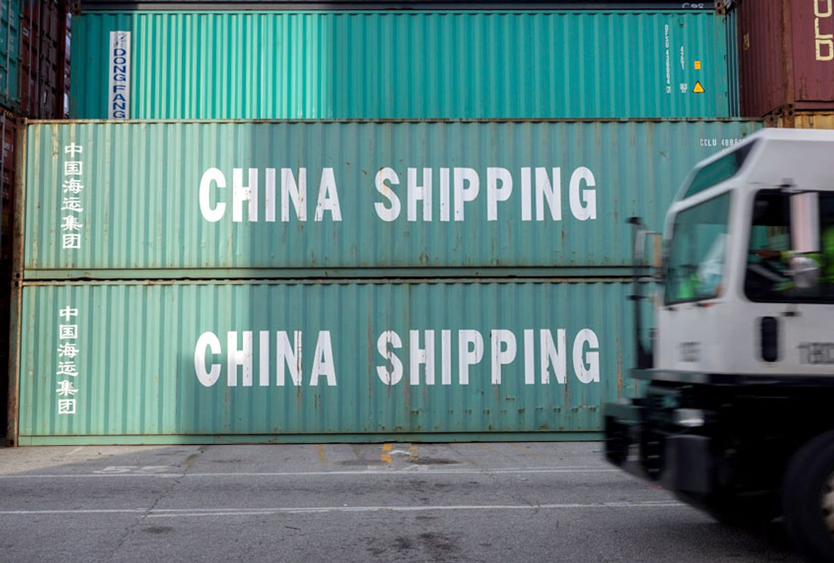 A stack of 40-foot China Shipping containers at the Port of Savannah in Savannah, Ga.  (AP/Stephen B. Morton)