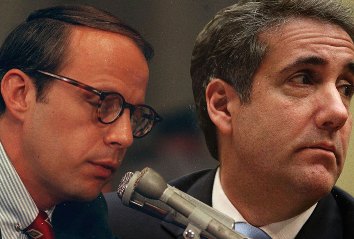John Dean III testifying on the Watergate case, June 27, 1973; Michael Cohen testifies before the House Oversight Committee on February 27, 2019. (Getty/AP/Salon)