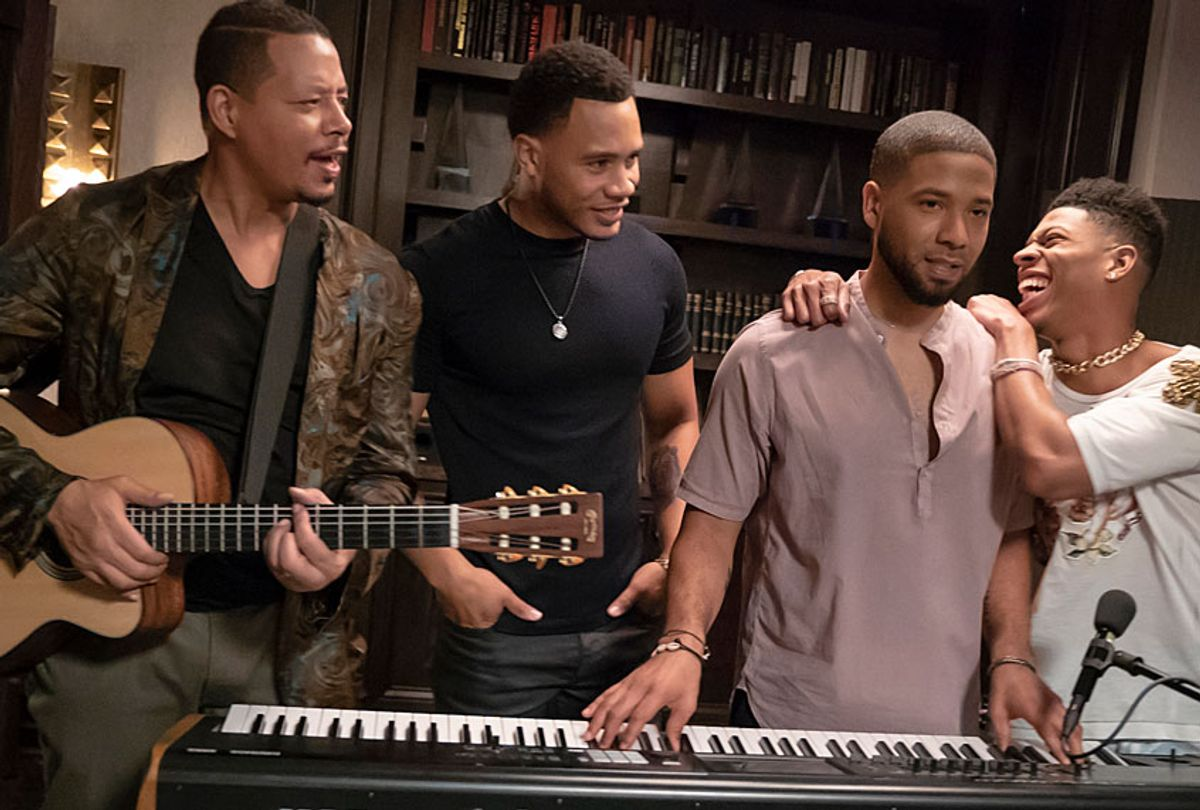 """Terrence Howard, Trai Byers, Jussie Smollett and Bryshere Y. Gray in """"Empire"""" (Chuck Hodes/FOX.)"""