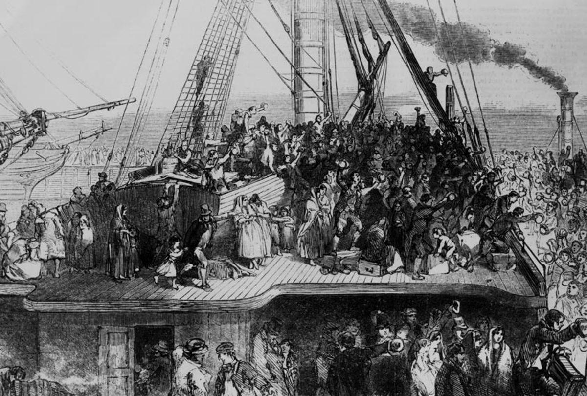 Irish emmigrants sailing to the US during the Great Famine, 1850. (Illustrated London News/Hulton Archive/Getty Images)