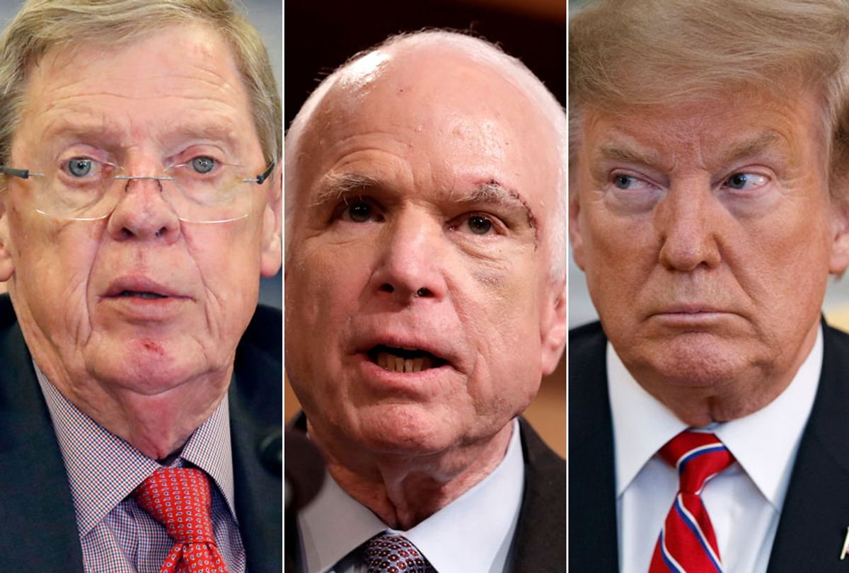Johnny Isakson; John McCain; Donald Trump (AP/Alex Brandon/Evan Vucci/Getty/Chip Somodevilla)