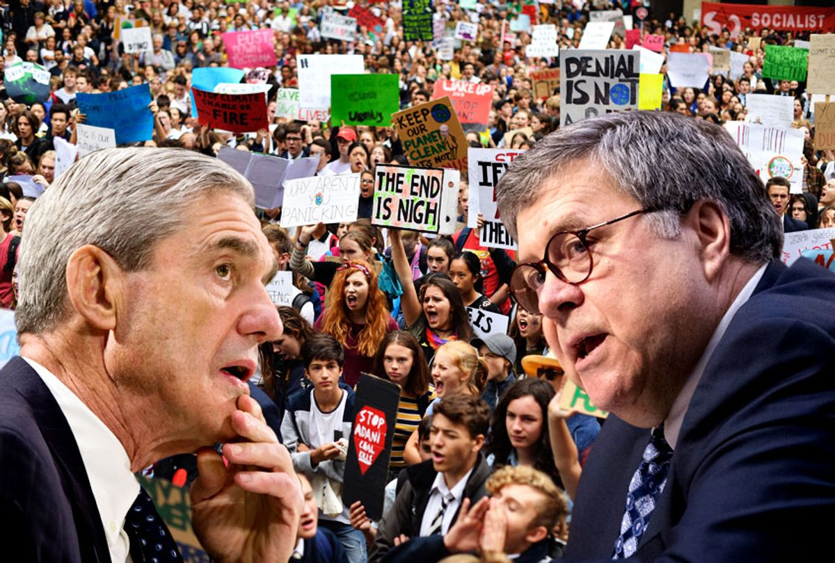 Robert Mueller; William Barr; Students strike and protest highlighting the inadequate progress to address climate change in Sydney on March 15, 2019. (AP/Salon)