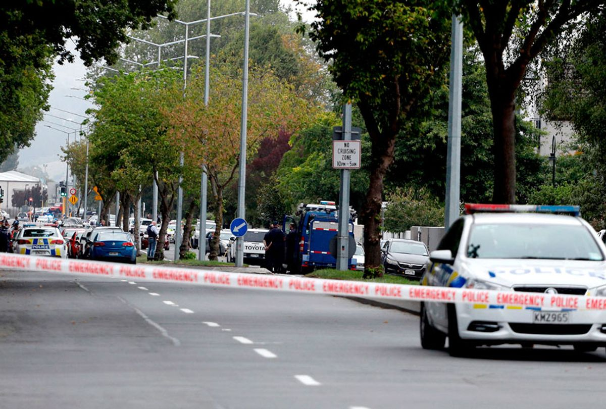 Police cordon off the area in front of the Masjid al Noor mosque after a shooting incident in Christchurch on March 15, 2019. (Getty/Tessa Burrows)