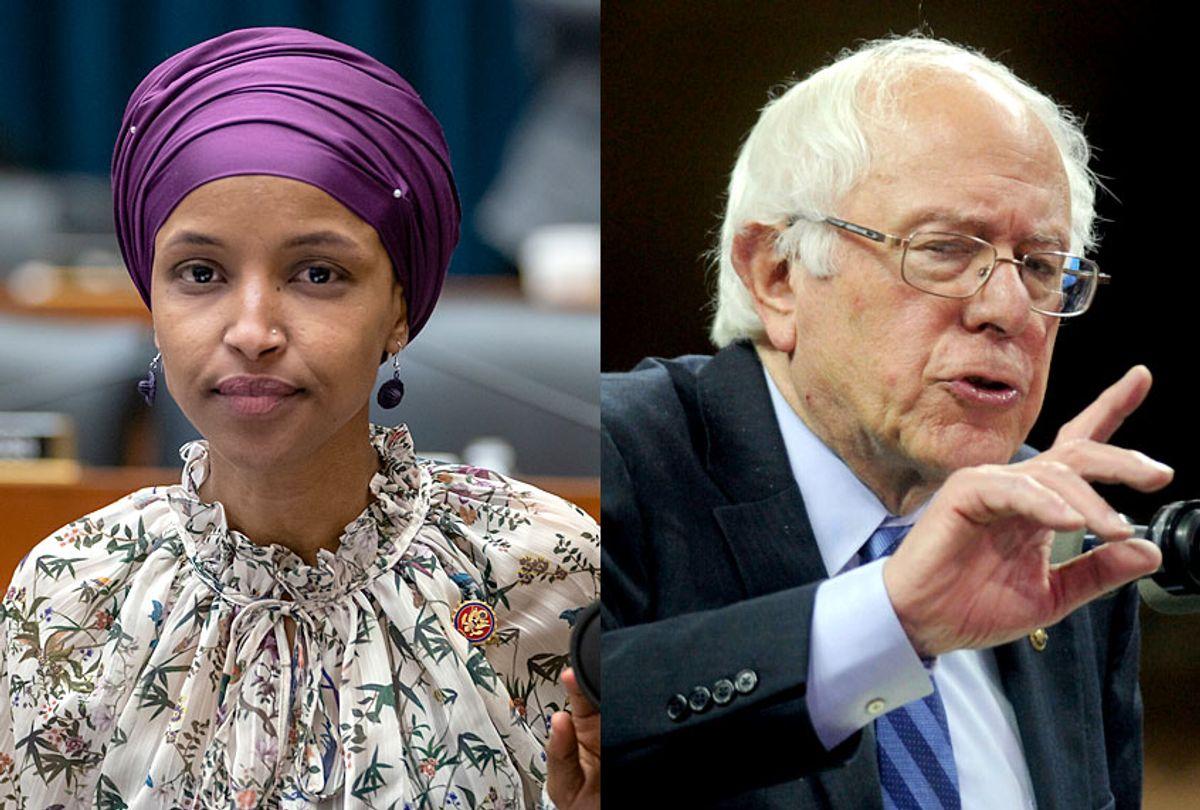 Ilhan Omar; Bernie Sanders (AP/J. Scott Applewhite/Dennis Van Tine)