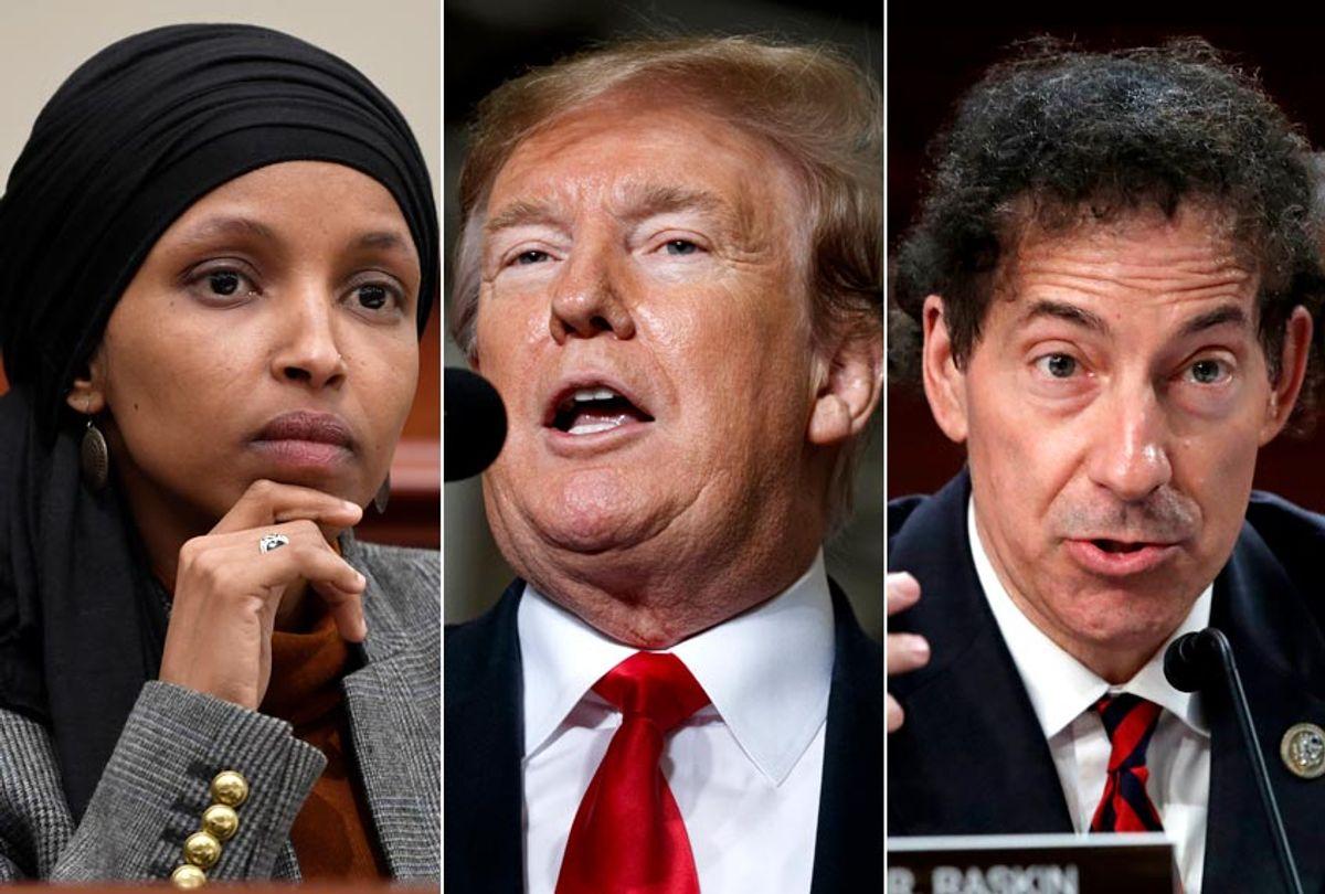 Ilhan Omar; Donald Trump; Jamie Raskin (AP/Susan Walsh/Evan Vucci/Jacquelyn Martin)
