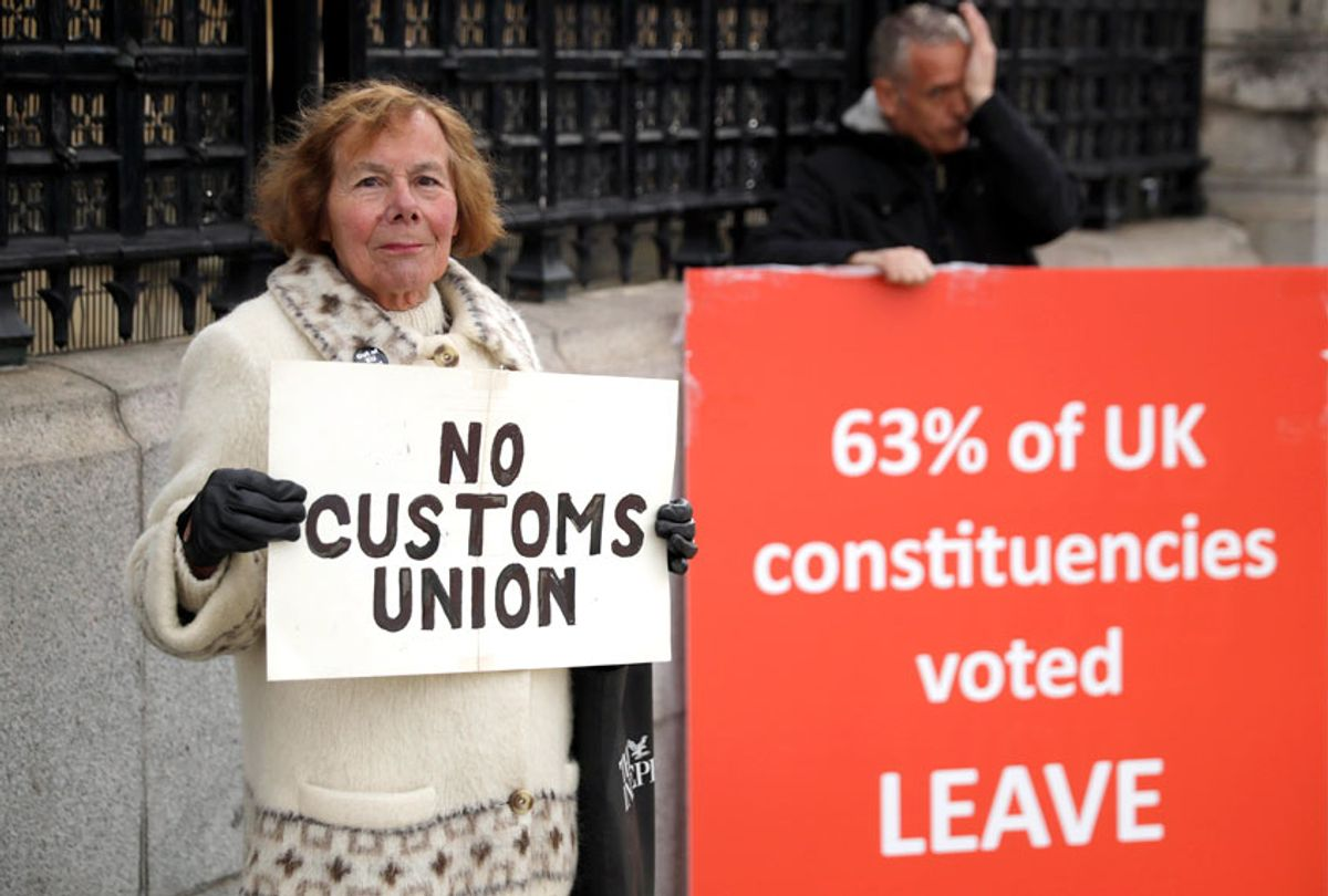 Pro-Brexit supporters protest outside the Houses of Parliament in London, Monday, March 18, 2019.  (AP/Matt Dunham)