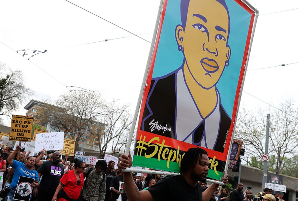 On April 4, 2018, over 100 Black Lives Matter protesters rallied during a day of action outside of the Sacramento district attorney office demanding justice for Stephon Clark, an unarmed black man who was shot and killed by Sacramento police. (Getty/Justin Sullivan)