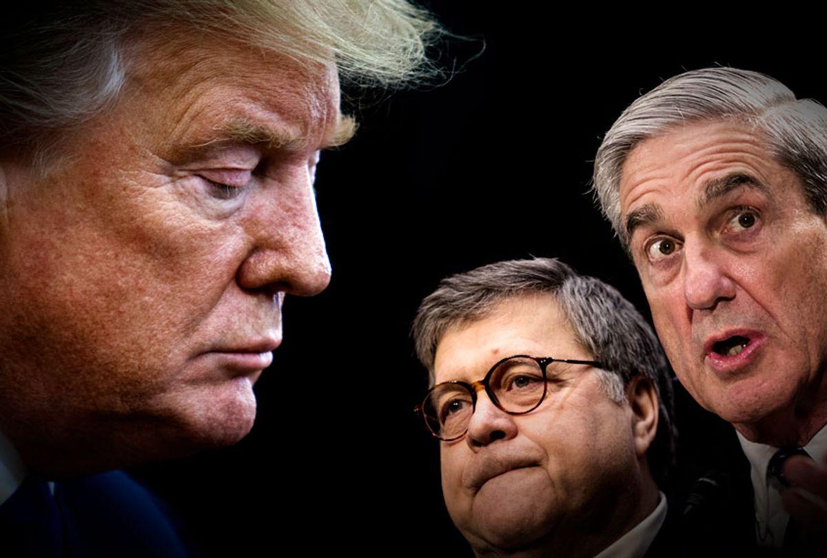 Donald Trump; William Barr; Robert Mueller (AP/Getty/Salon)
