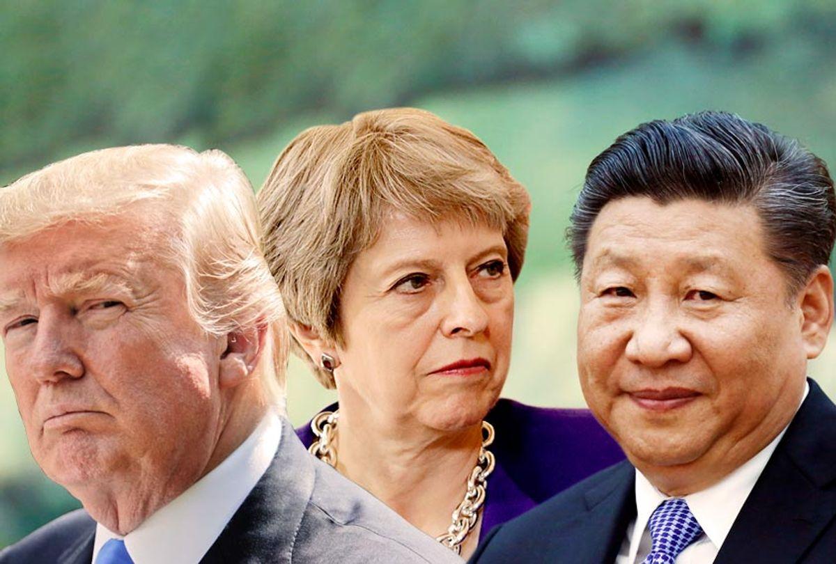 Donald Trump; Theresa May; Xi Jinping (AP/Getty/Salon)