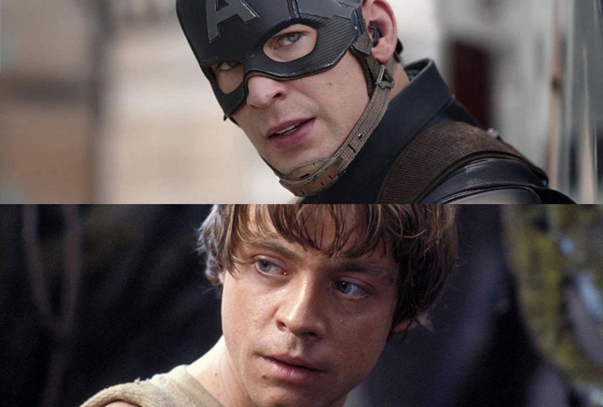 Chris Evans as Captain America; Mark Hamill as Luke Skywalker (Marvel/Lucasfilm)