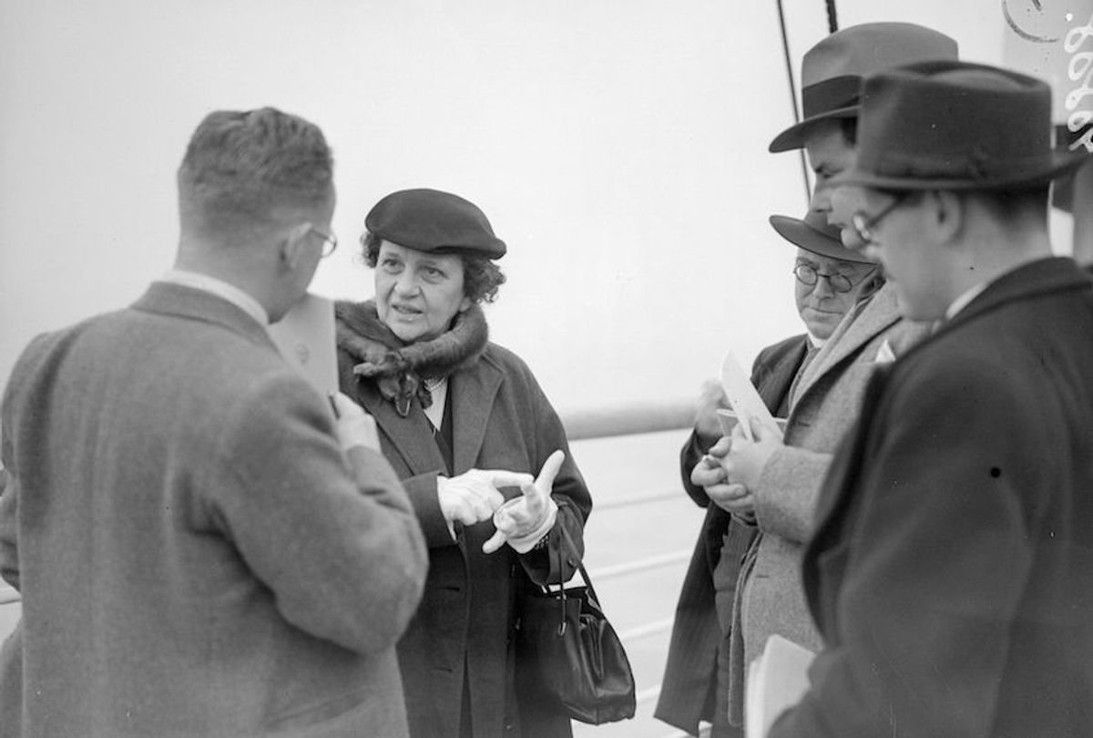 1938:  American social reformer and politician Frances Perkins, the Secretary of Labour in Franklin Delano Roosevelt's cabinet, aboard US liner Washington on arrival at Plymouth, bound for a conference in Geneva.  (Photo by London Express/Getty Images) (London Express/Getty Images)