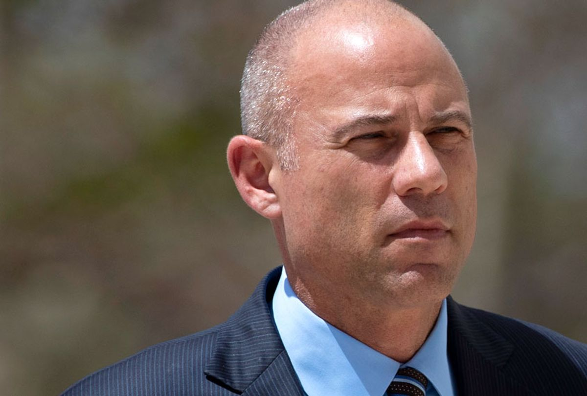 Attorney Michael Avenatti arrives at federal court Monday, April 1, 2019, in Santa Ana, Calif. Avenatti appeared in federal court on charges he fraudulently obtained $4 million in bank loans and pocketed $1.6 million that belonged to a client. (AP/Jae C. Hong)