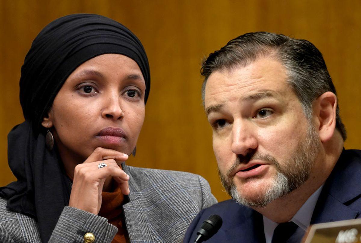 Rep. Ilhan Omar (D-MN); Sen.Ted Cruz (R-TX) (AP/Getty/Salon)