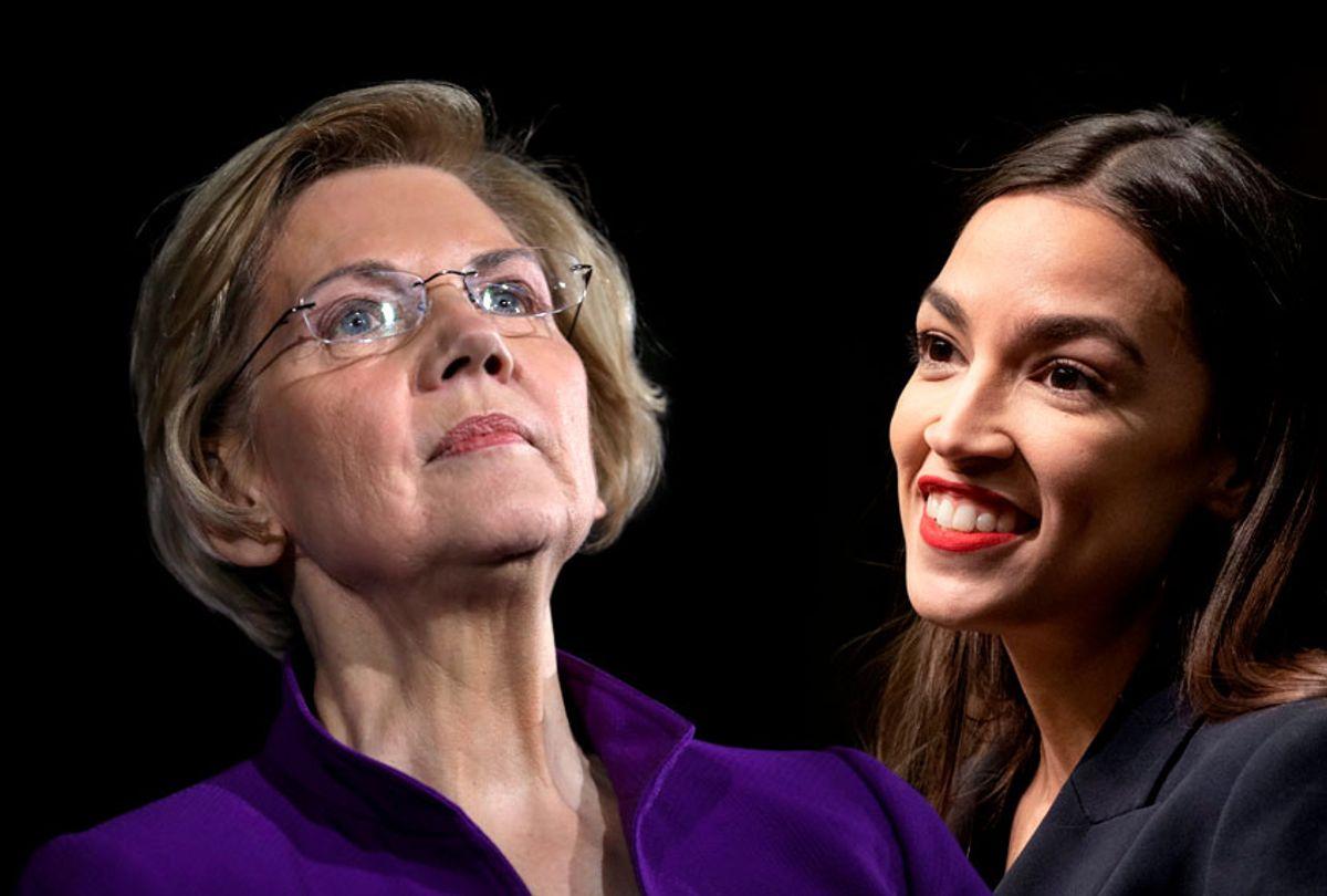 Elizabeth Warren; Alexandria Ocasio-Cortez (Getty/Salon)