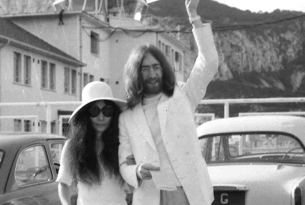 Yoko Ono and John Lennon after their wedding at the Rock of Gibraltar on March 20, 1969. (AP Photo)