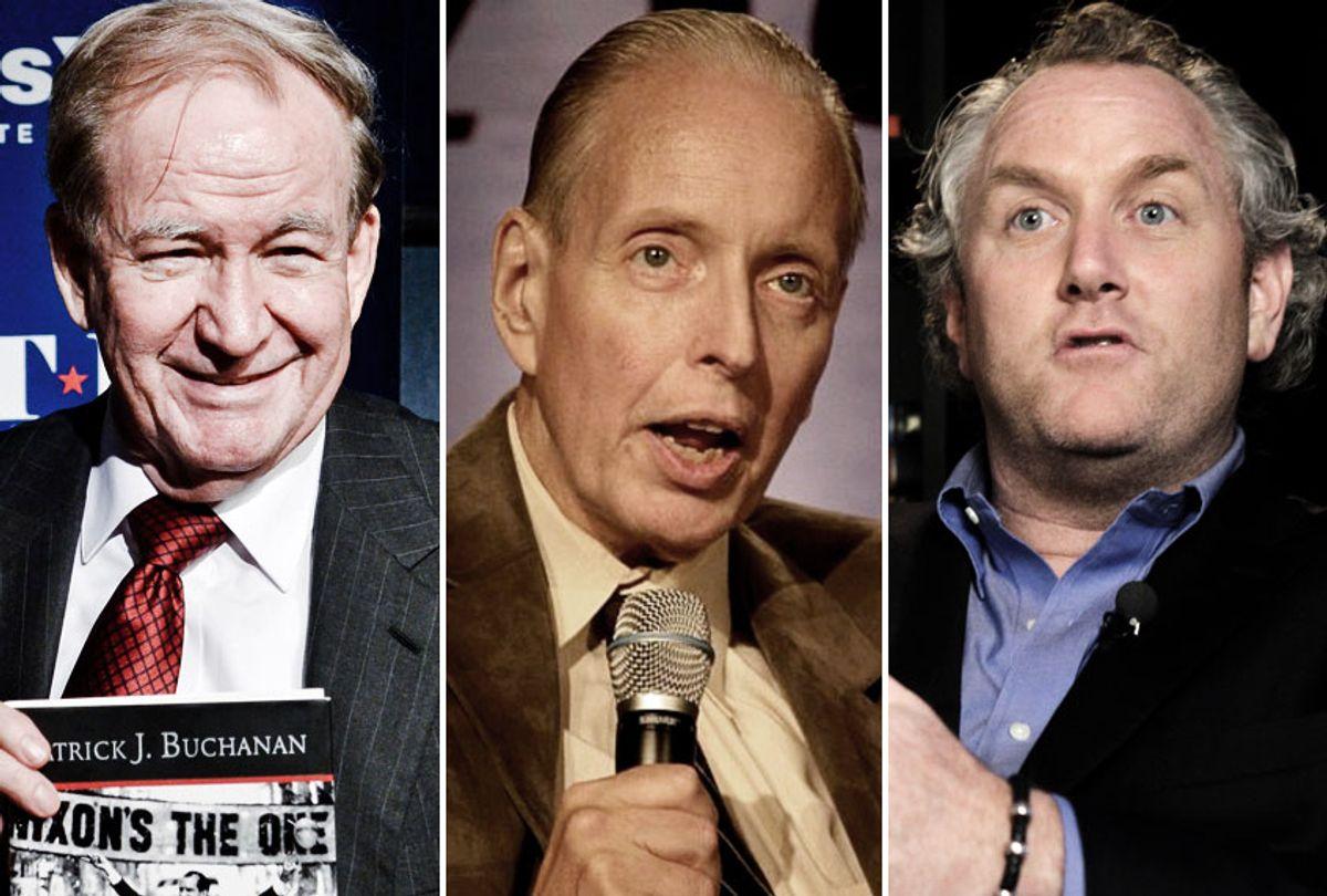 Pat Buchanan; Paul Weyrich; Andrew Breitbart (Getty/Wikimedia/AP)