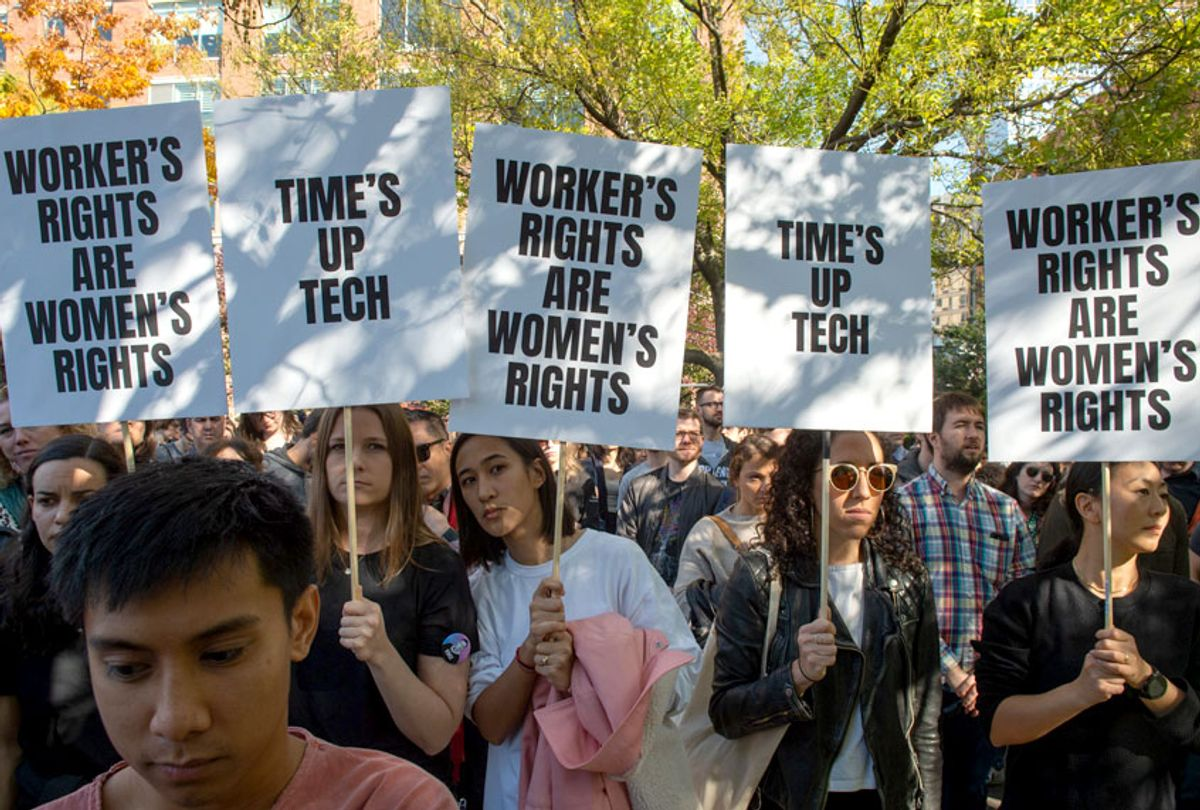 Google employees stage a walkout on November 1, 2018, in New York, over sexual harassment. (Getty/Bryan R. Smith)