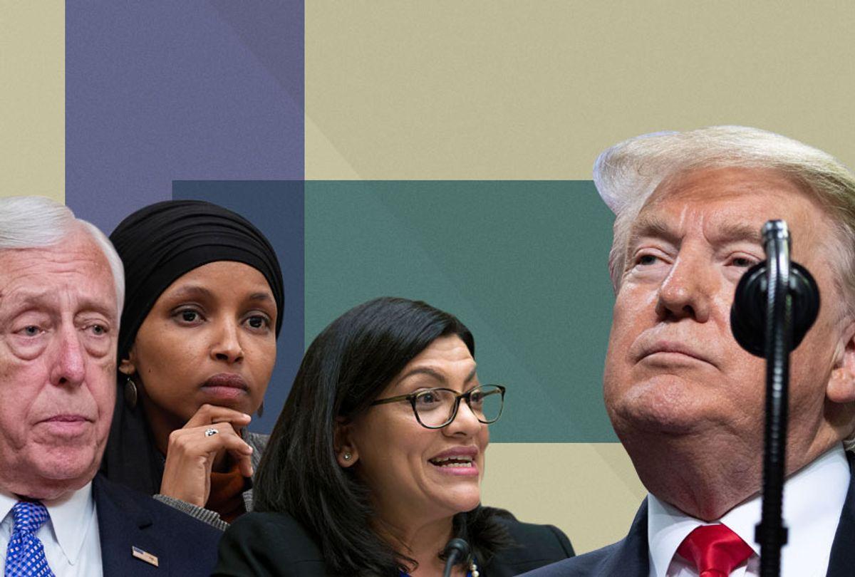 Steny Hoyer; Ilhan Omar; Rashida Tlaib; Donald Trump (AP/Getty/Salon)