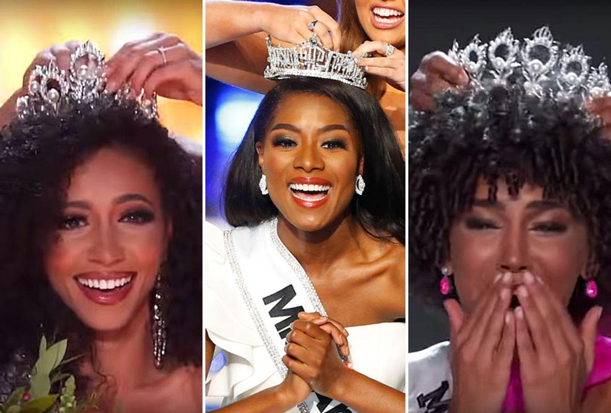 Miss USA 2019 Cheslie Kryst, Miss America 2019 Nia Franklin, Miss Teen USA 2019 Kaliegh Garris (AP/Noah K. Murray/YouTube/Miss USA)