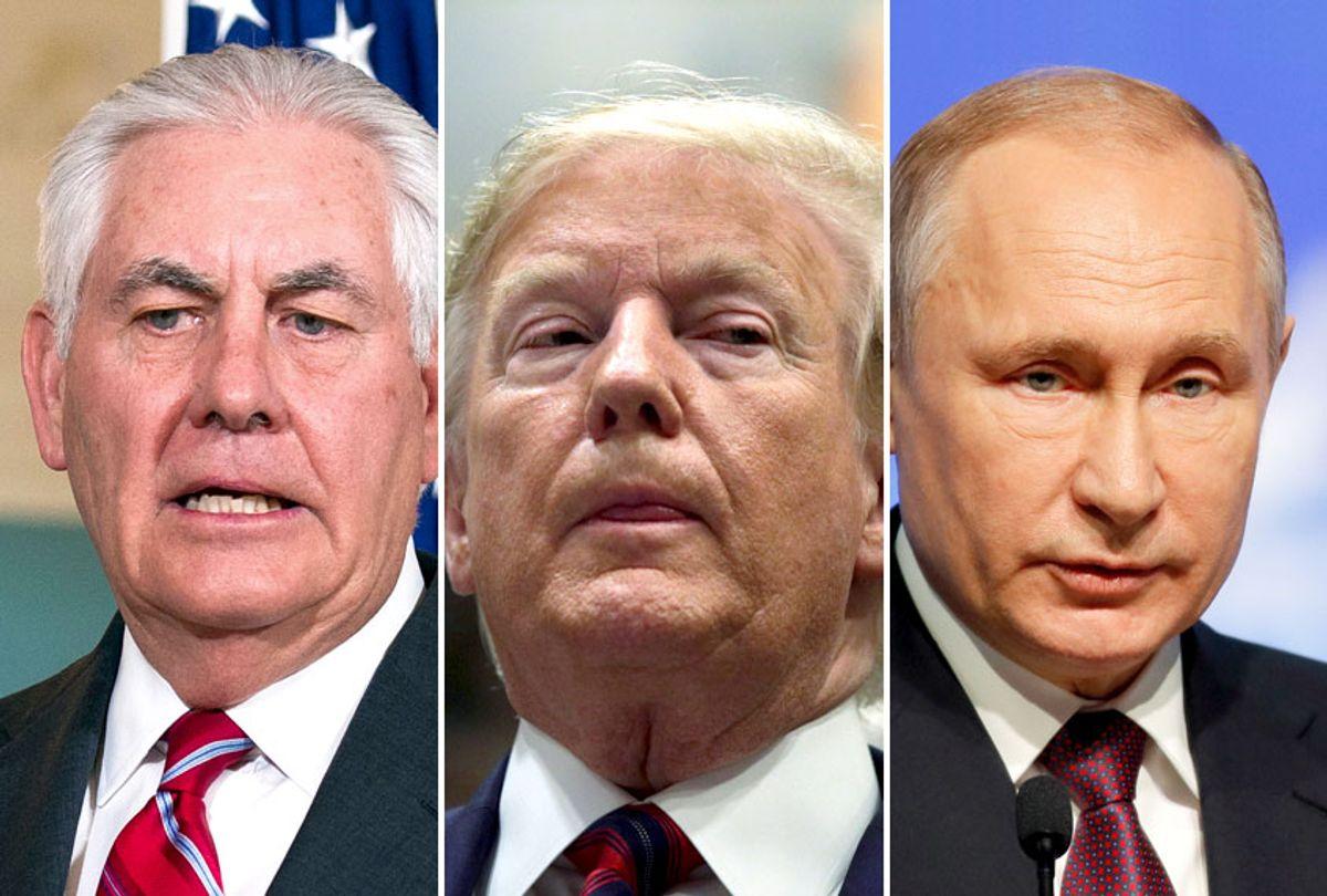 Rex Tillerson; Donald Trump; Vladimir Putin (AP/Cliff Owen/Dmitri Lovetsky/Getty/Alex Wong)