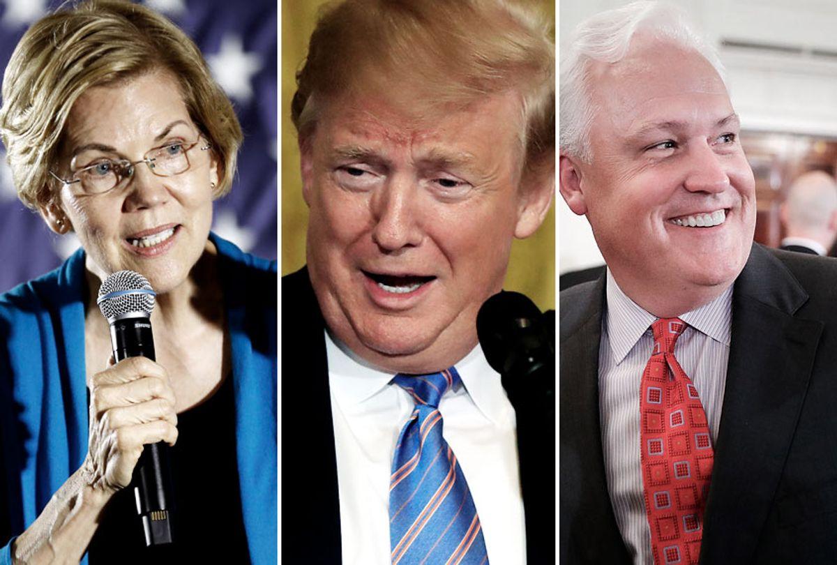 Elizabeth Warren; Donald Trump; Matt Schlapp (AP/Charlie Neibergall/Charlie Neibergall/Getty/Chip Somodevilla)
