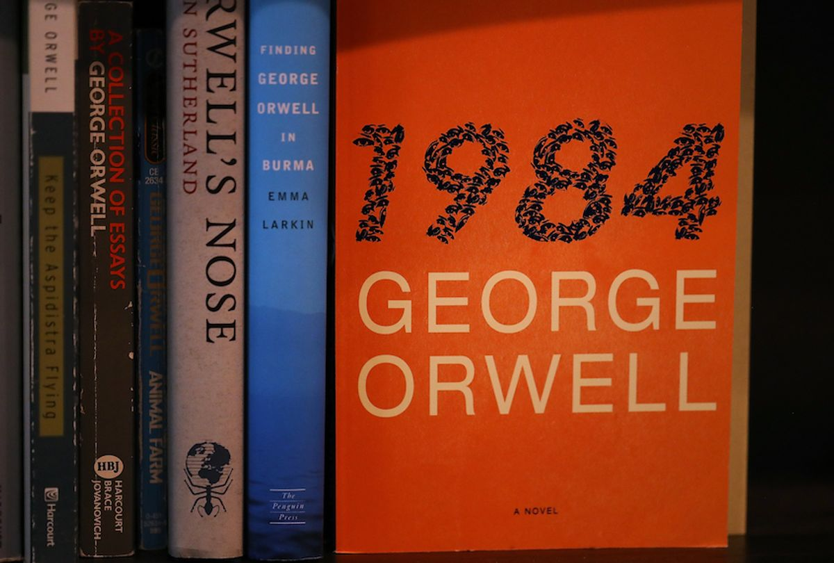 A copy of George Orwell's novel '1984' is displayed at The Last Bookstore on January 25, 2017 in Los Angeles, California (Photo Illustration by Justin Sullivan/Getty Images)