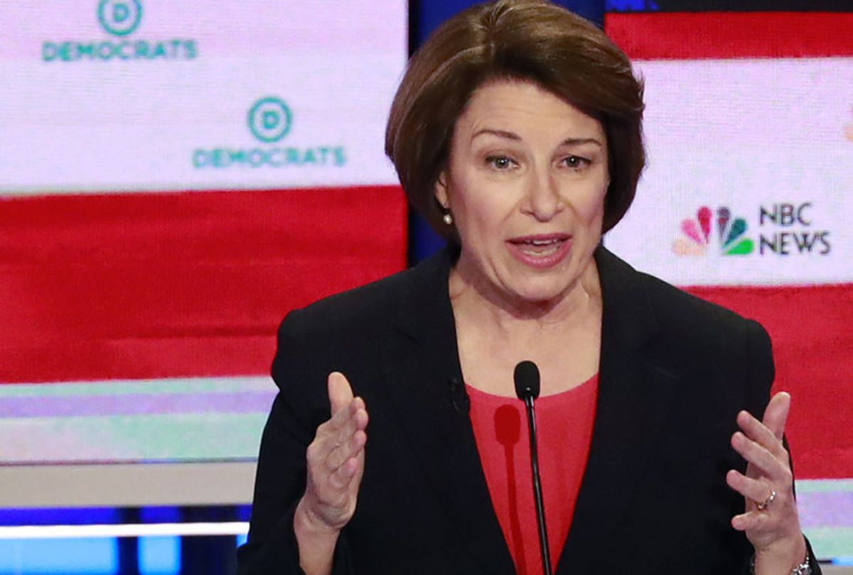 Democratic presidential candidate Sen. Amy Klobuchar, D-Minn., answers a question during a Democratic primary debate hosted by NBC News at the Adrienne Arsht Center for the Performing Arts, Wednesday, June 26, 2019, in Miami (AP/Wilfredo Lee)