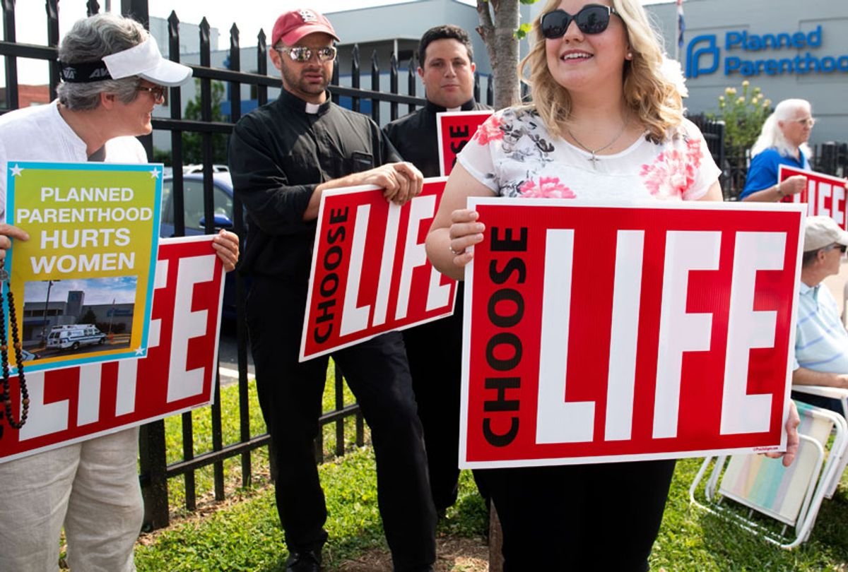 Anti-abortion demonstrators hold a protest outside the Planned Parenthood Reproductive Health Services Center in St. Louis, Missouri, May 31, 2019. (Getty/Saul Loeb)