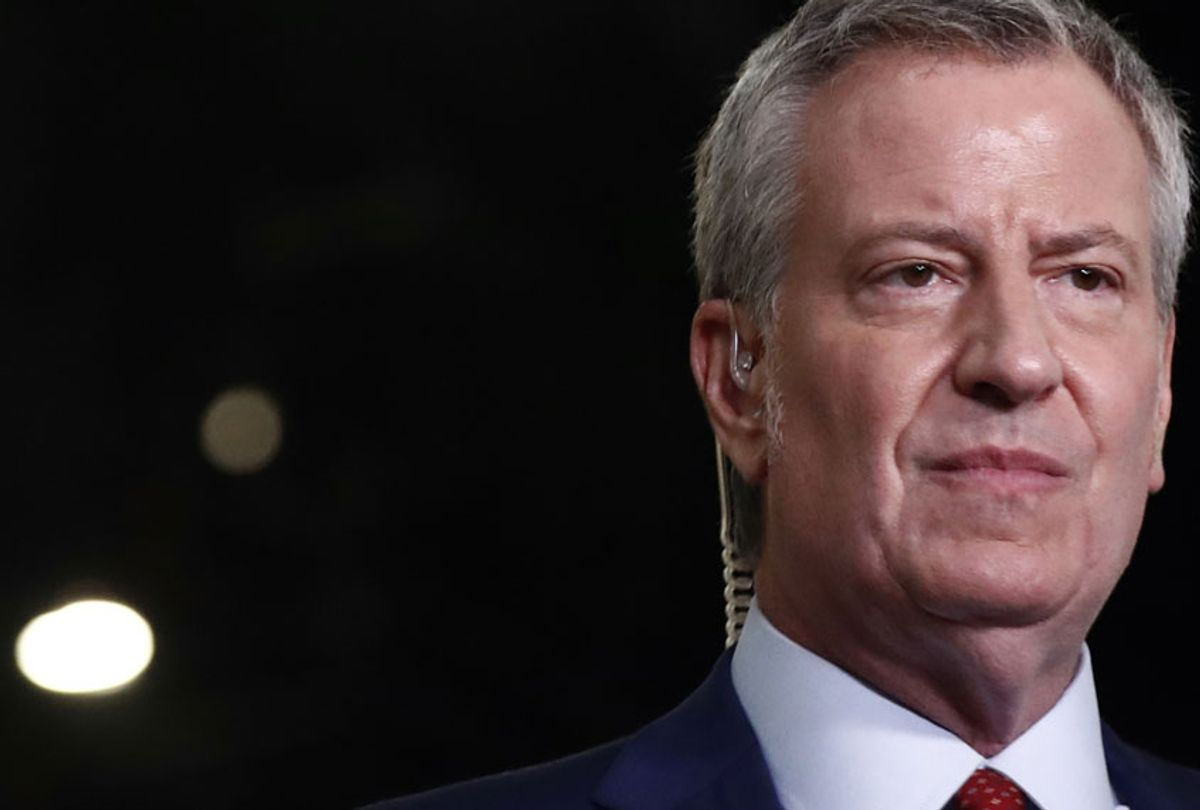 Democratic presidential candidate New York City Mayor, Bill de Blasio speaks to the media before the Democratic primary debate hosted by NBC News at the Adrienne Arsht Center for the Performing Arts, Wednesday, June 27, 2019, in Miami.  (AP/Wilfredo Lee)