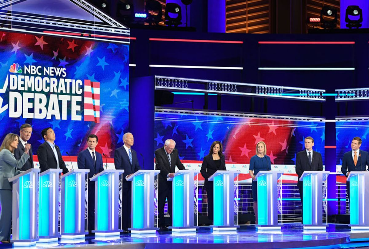 Democratic presidential hopefuls (fromL) US author and writer Marianne Williamson, former Governor of Colorado John Hickenlooper, US attorney and entrepreneur Andrew Yang, Mayor of South Bend, Indiana Pete Buttigieg, former US Vice President Joseph R. Biden, US Senator for Vermont Bernie Sanders, US Senator for California Kamala Harris, US Senator for New York Kirsten Gillibrand, US Senator for Colorado Michael Bennet, US Representative for California's 15th congressional district Eric Swalwell, participate in the second Democratic primary debate of the 2020 presidential campaign season hosted by NBC News at the Adrienne Arsht Center for the Performing Arts in Miami, Florida, June 27, 2019. (Getty/Saul Loeb)
