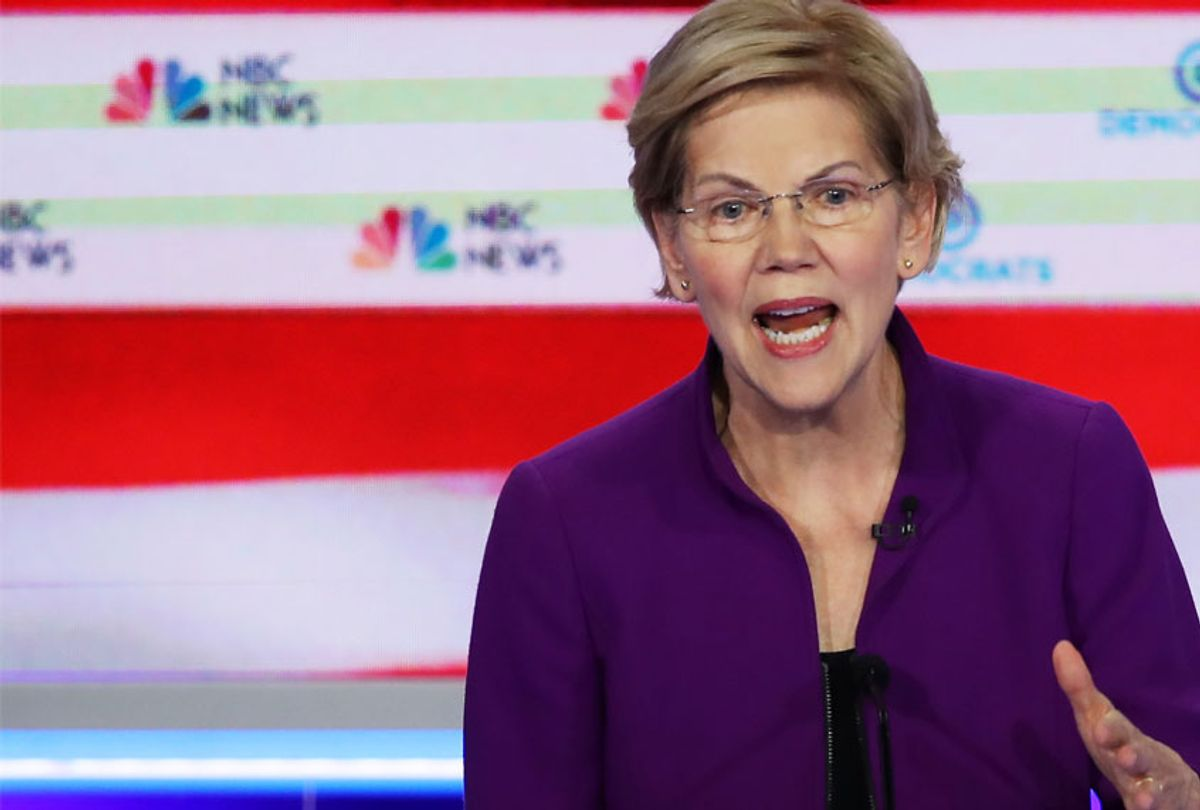 Sen. Elizabeth Warren (D-MA) speaks during the first night of the Democratic presidential debate on June 26, 2019 in Miami, Florida.  (Getty/Joe Raedle)