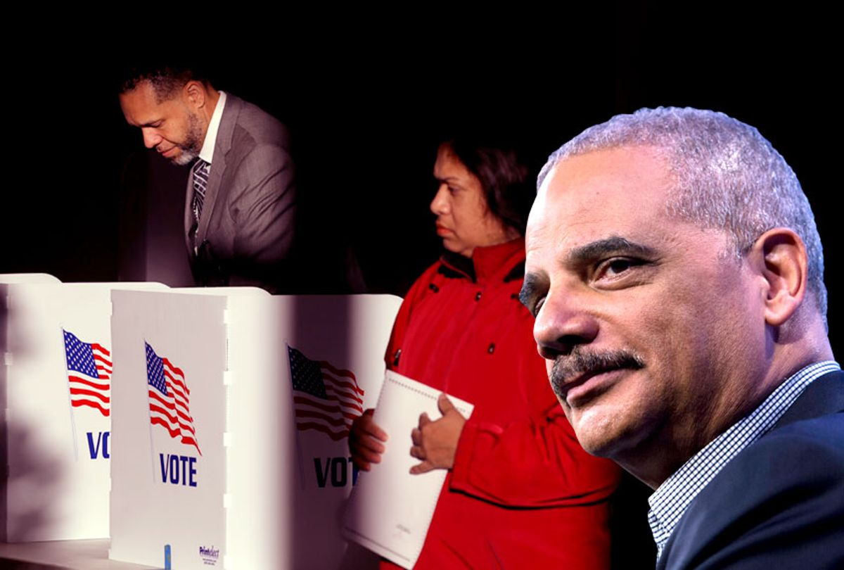 Former Attorney General Eric Holder; Voters cast their ballots at a polling place  in Ridgeland, Mississippi, Nov. 27, 2018 (Getty/Salon)