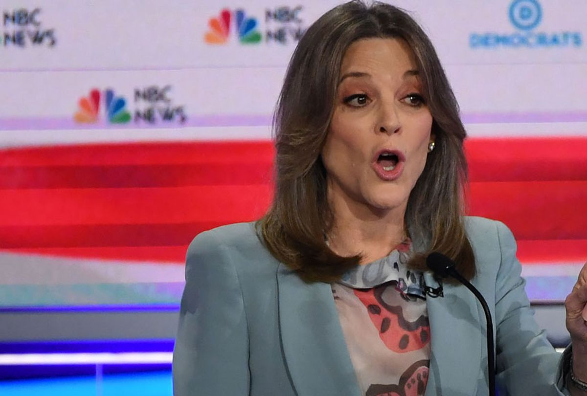 Democratic presidential hopeful US author Marianne Williamson speaks during the second Democratic primary debate of the 2020 presidential campaign season hosted by NBC News at the Adrienne Arsht Center for the Performing Arts in Miami, Florida, June 27, 2019. (Getty/Saul Loeb)