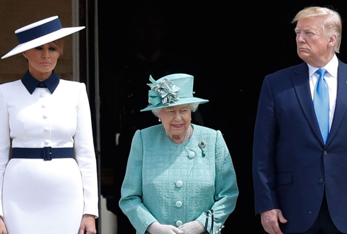 First Lady Melania Trump, Britain's Queen Elizabeth II, and President Donald Trump during a welcome ceremony at Buckingham Palace in central London on June 3, 2019, on the first day of the US president and First Lady's three-day State Visit to the UK. (Getty/Adrian Dennis)