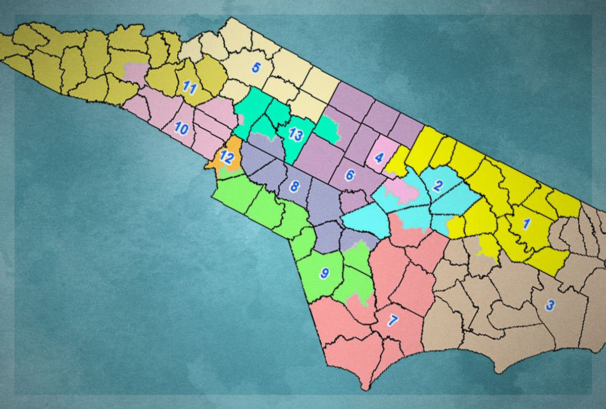 North Carolina's congressional districts (Wikimedia/Getty/Salon)