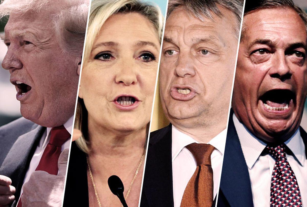 President Donald Trump; National Party leader Marine le Pen; Hungarian Prime Minister Viktor Orban; Brexit Party leader Nigel Farage (Getty/Salon)