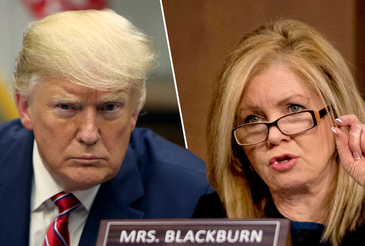 President Donald Trump; Sen. Marsha Blackburn (R-TN) (Getty/Mark Wilson/AP/Andrew Harnik)