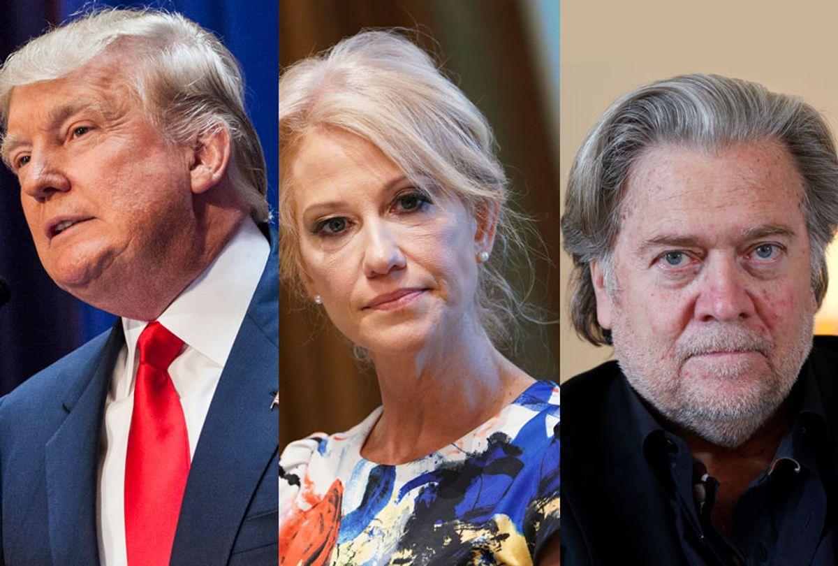 Donald Trump; Kellyanne Conway; Steve Bannon (AP/Getty)