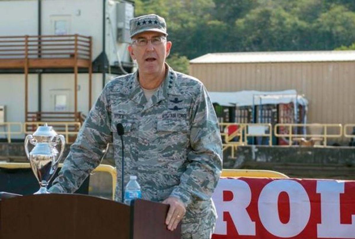U.S. Air Force Gen. John E. Hyten, commander of U.S. Strategic Command (USSTRATCOM), delivers remarks during the 2017 Omaha Submarine Ballistic Missile Trophy presentation. (MC1 Class Amanda Gray/USSTRATCOM)