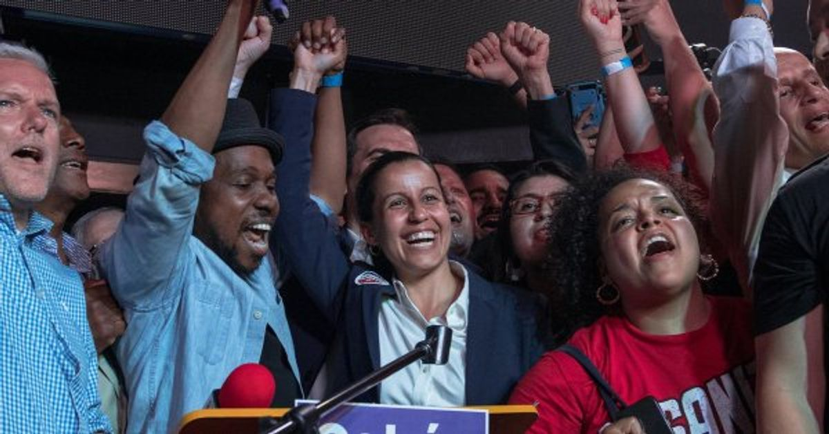 Tiffany Cabán declares victory on election night in Queens — but that victory is now in doubt.