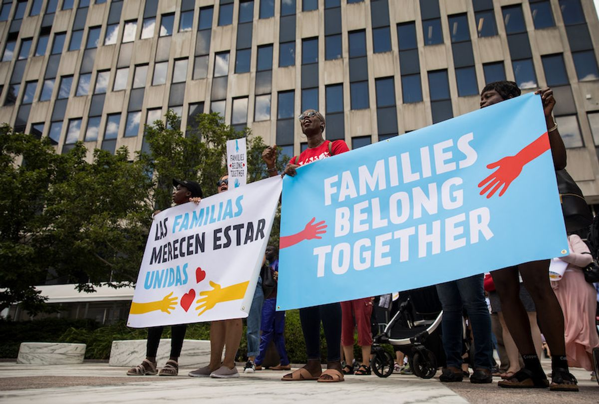 Activists, including childcare providers, parents and their children, protest against the Trump administrations recent family detention and separation policies for migrants along the southern border, near the New York offices of U.S. Immigration and Customs Enforcement (ICE), July 18, 2018 in New York City.  (Drew Angerer/Getty Images)