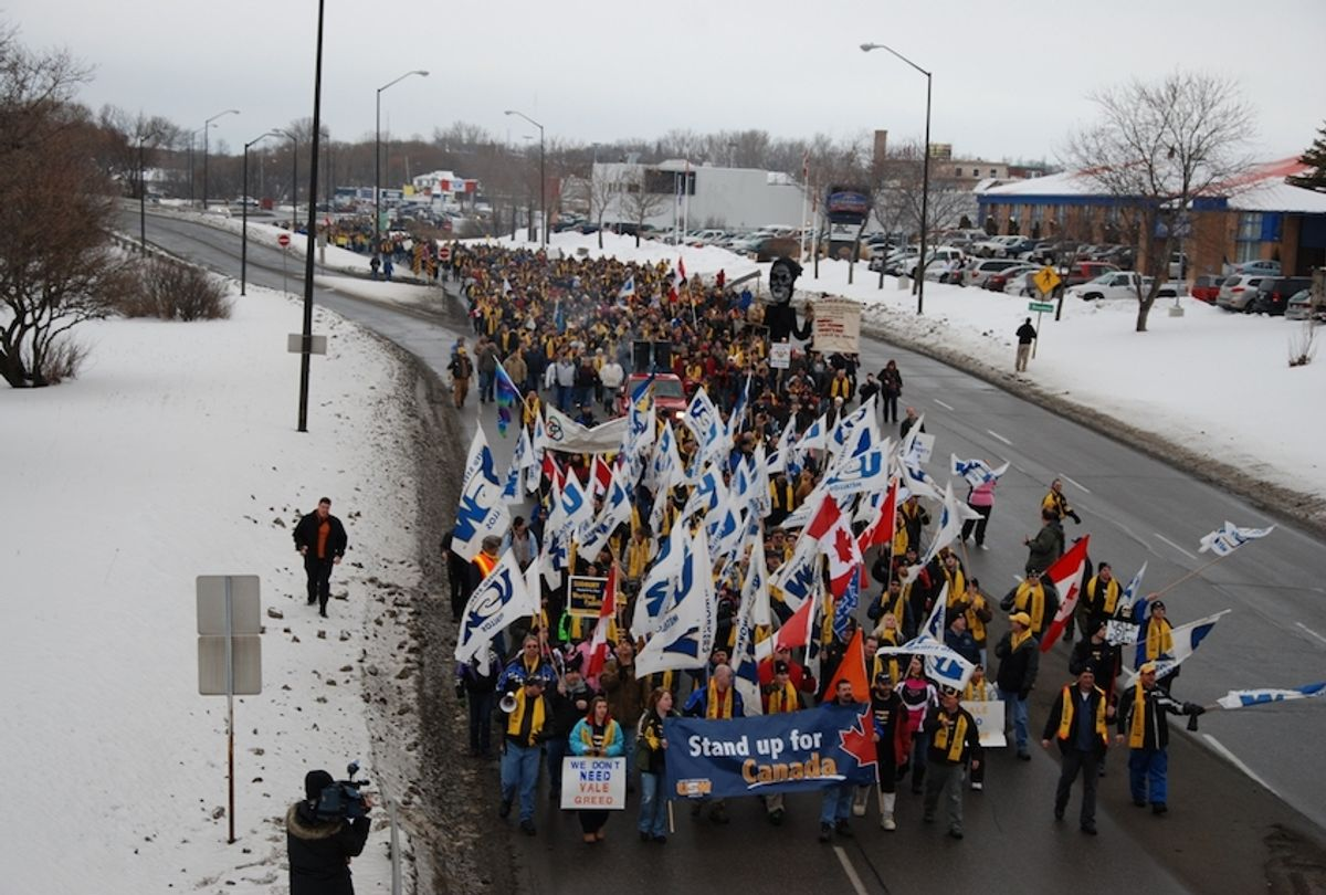 In March 2010, a rally by thousands of striking USW workers at the Vale mine and smelter in Sudbury, Canada, was joined by allies from Brazil, Australia and countries around the world.  (Photo courtesy of United Steelworkers)