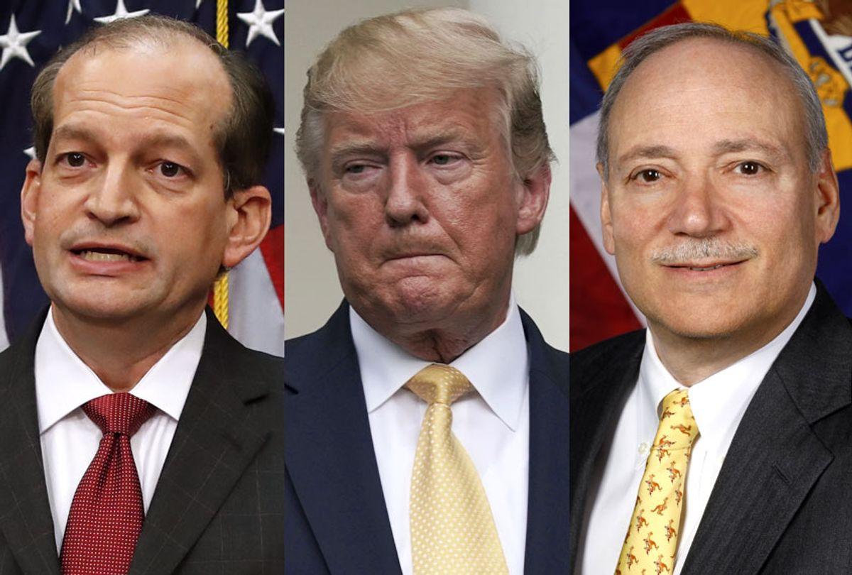 Alex Acosta; Donald Trump; Patrick Pizzella (AP/Getty/Wikimedia)