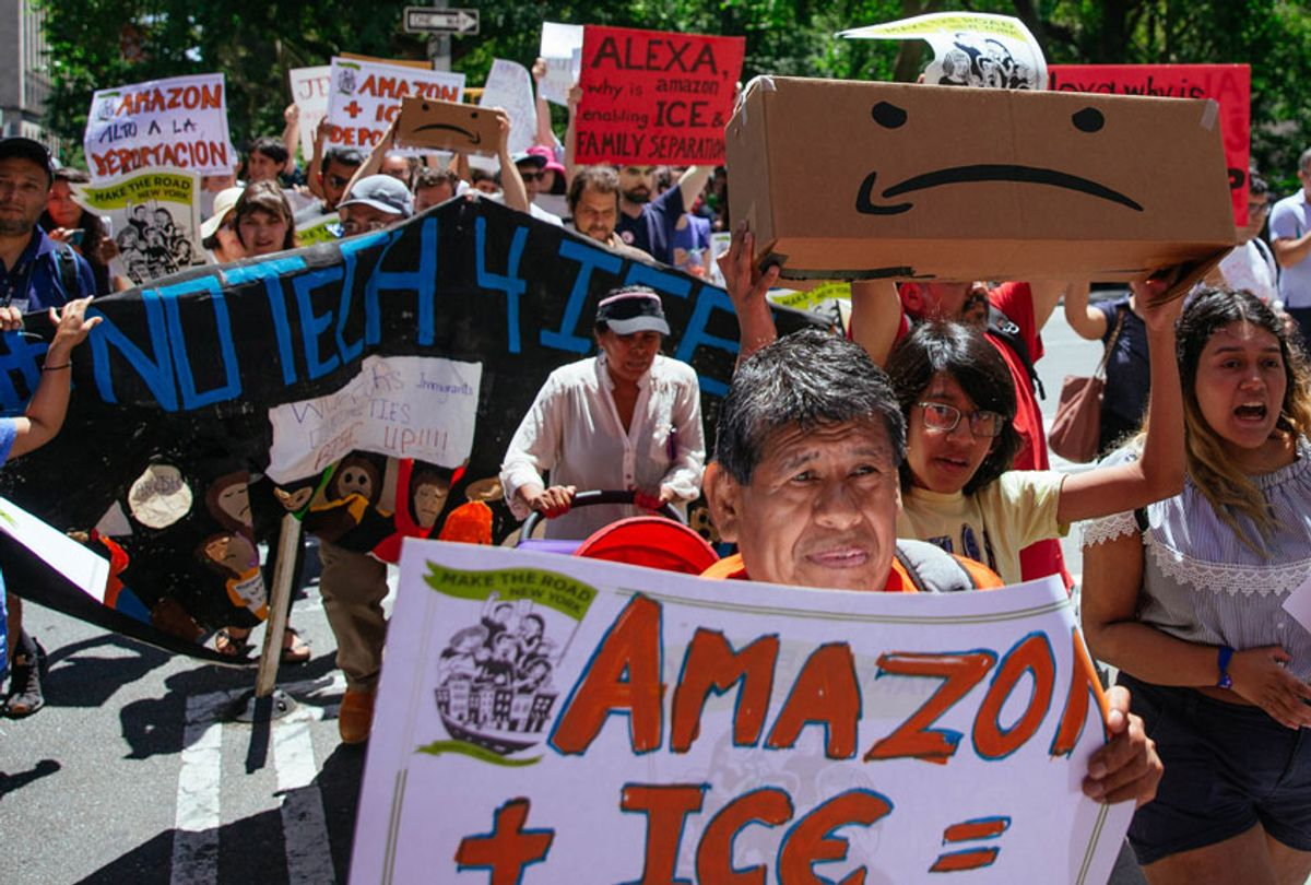Protestors march to a building where Amazon owner Jeff Bezos owns property on July 15, 2019 in New York City. (Getty/Kevin Hagen)