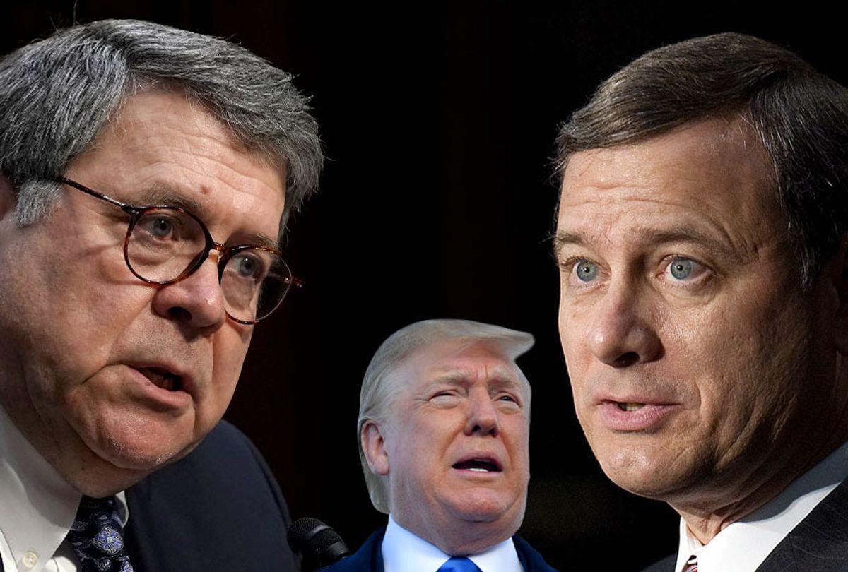 William Barr; Donald Trump; John Roberts (Getty/Salon)