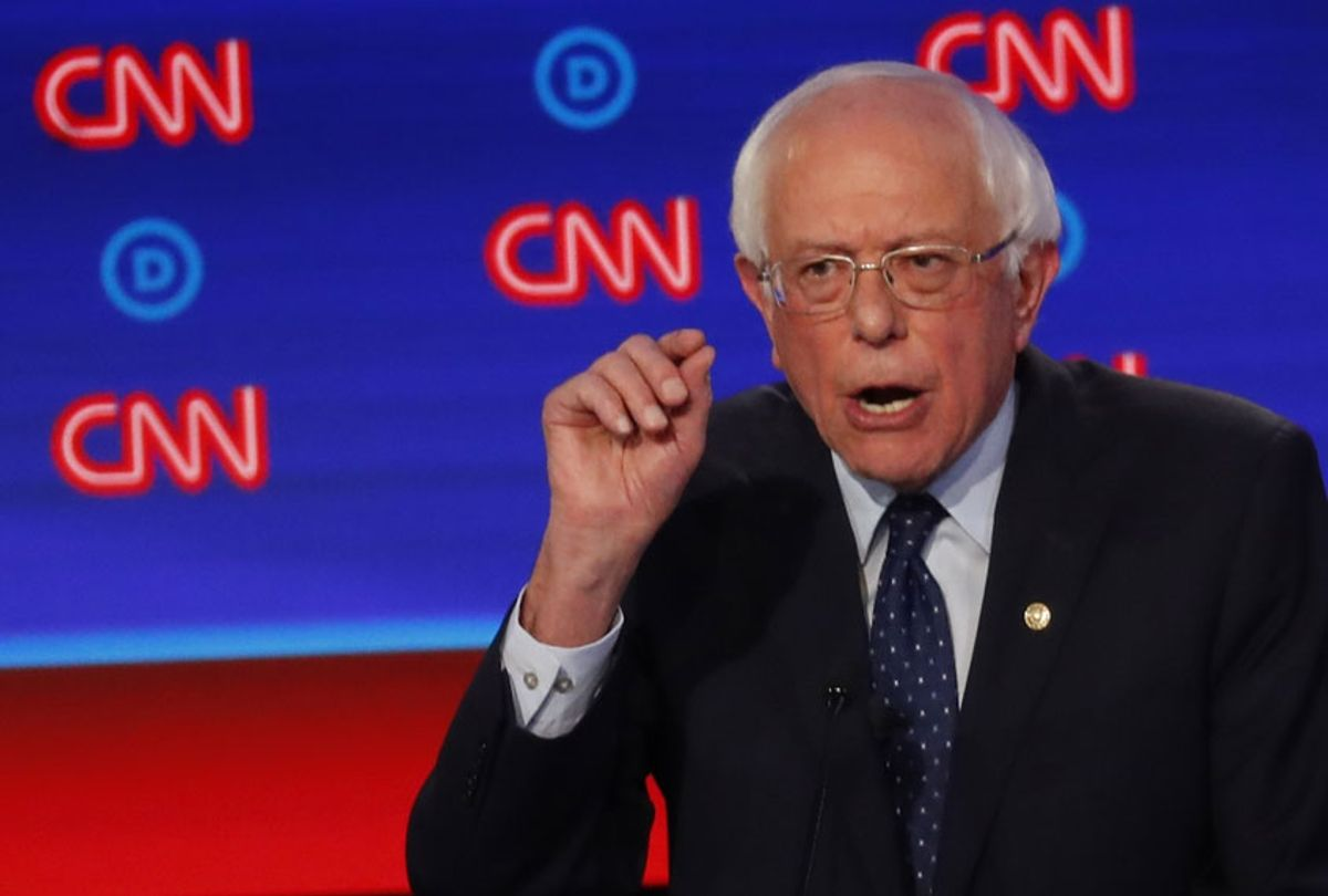 Sen. Bernie Sanders, I-Vt., speaks during the first of two Democratic presidential primary debates hosted by CNN Tuesday, July 30, 2019, at the Fox Theatre in Detroit. (AP/Paul Sancya)